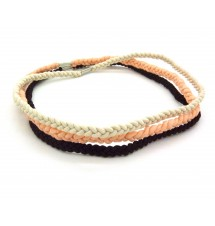 Lot de 3 headbands tressés (rose clair, beige et marron)