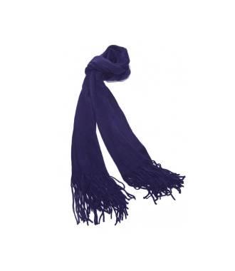 Echarpe à franges bleue