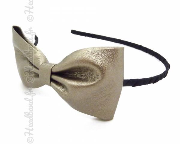 Serre-tête noeud cuir gris