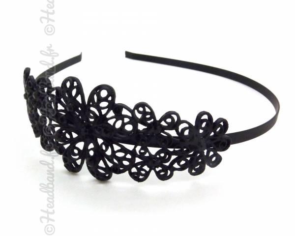 Serre-tête métal motifs floraux noir