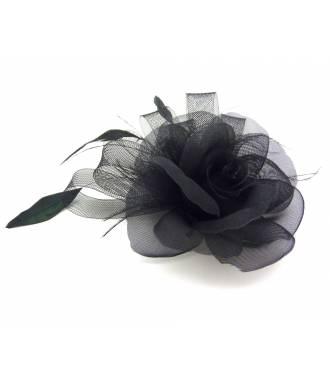 Barette bibi fleur noire