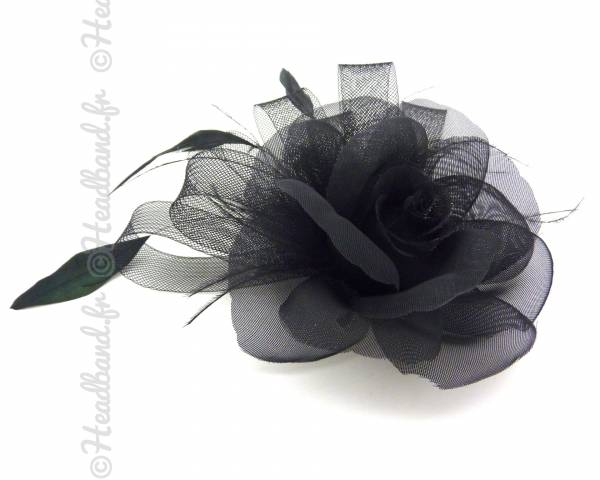 Barrette bibi fleur noire