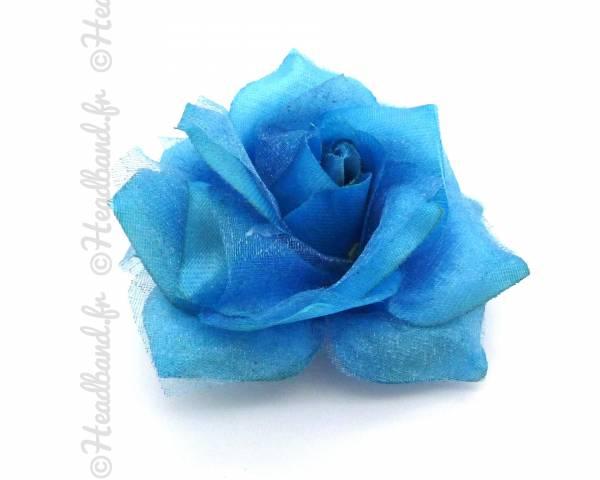 Barrette fleur tissus bleue