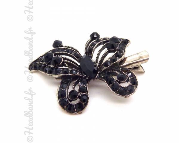Barrette cristal papillon noire