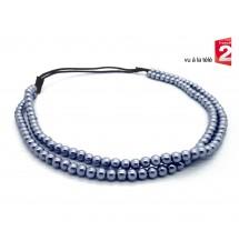 Headband perles gris porté
