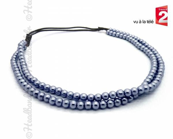 Headband perles gris