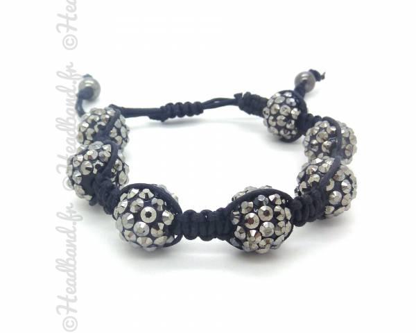 Bracelet shamballa strass gris