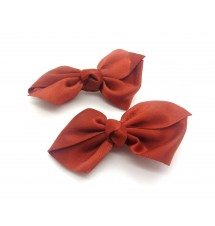 Barrettes noeud rouge cerise 2