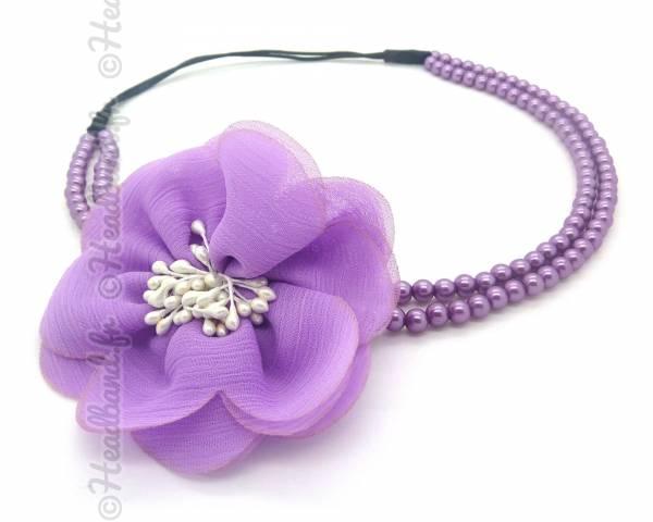 Headband perlé violet
