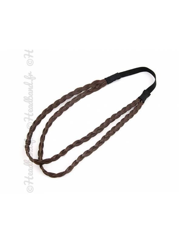 Headband double cheveux châtains