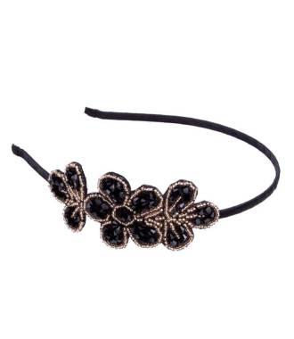 Serre-tête fleur perlé noir