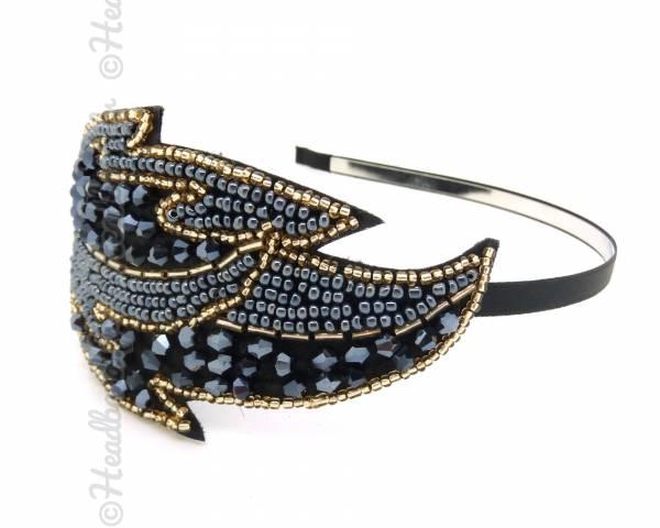 Serre-tête feuille perlée bleue