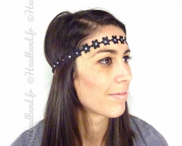 Headband fleur tissus noir
