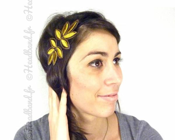 Headband rosace strassée jaune