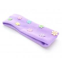 Bandeau strassé fleur violet