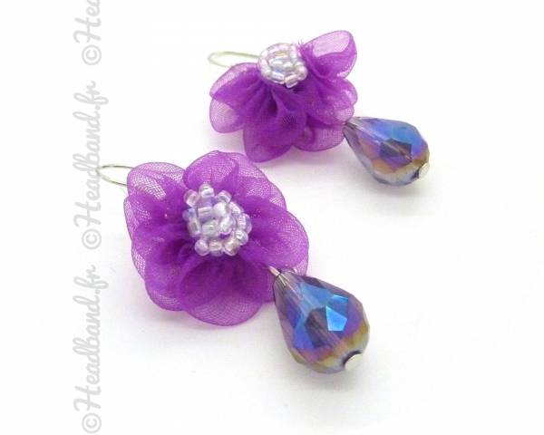 Boucles d'oreilles fleur violette
