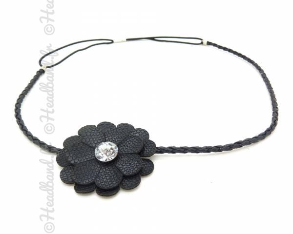 Headband cuir fleur noir