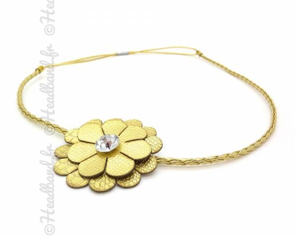 Headband cuir fleur doré