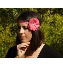 Headband fleur strassée rose foncé