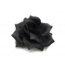 Barrette fleur tissus noir porté