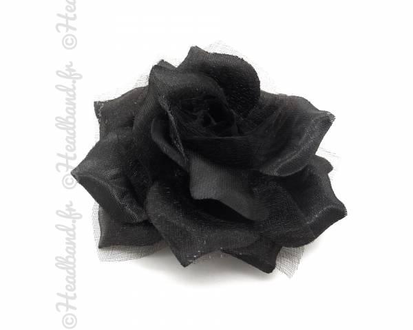 Barrette fleur tissus noir