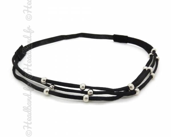 Headband daim et perles noir
