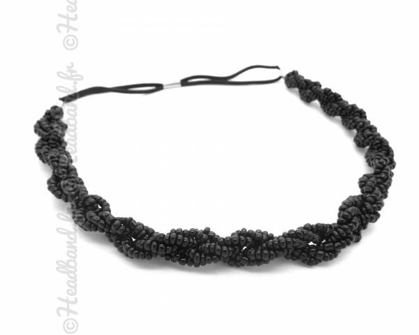 Headband torsadé perles noires