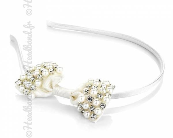 Serre-tête noeud et perles ivoire