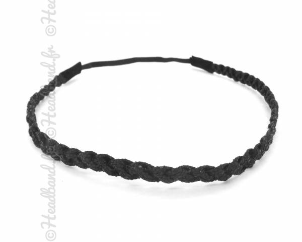 Headband tresse noir pailleté