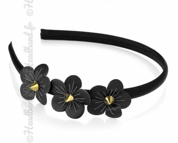 Serre-tête fleur cuir noir