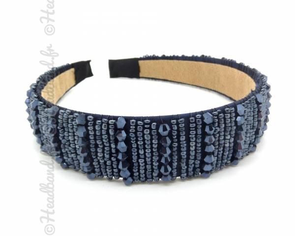 Serre-tête large perlé bleu