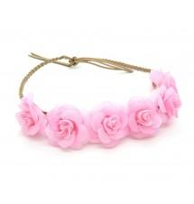 Headband couronne fleurie rose autre vue