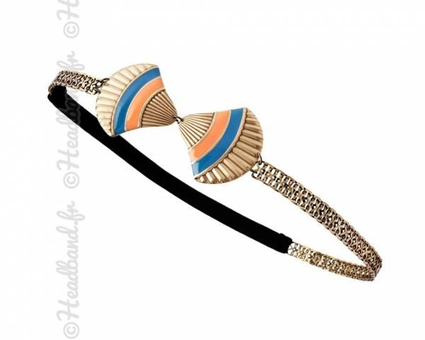 Headband coquillage bleu/abricot