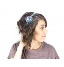 Serre-tête résine motif bleu zoom