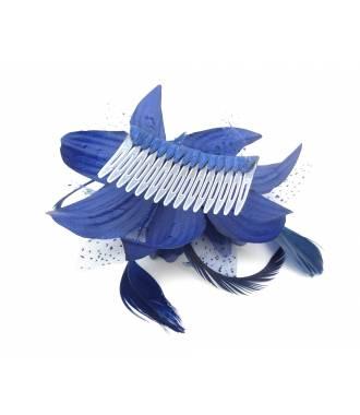 Peigne fleur bleue zoom
