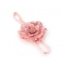 Headband fleur sequins rose