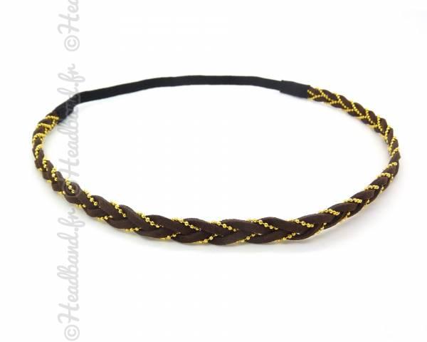Headband tressé chaîne marron