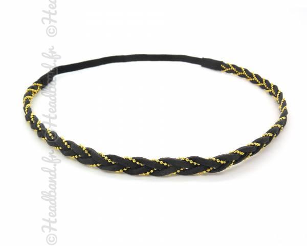 Headband tressé chaîne noir