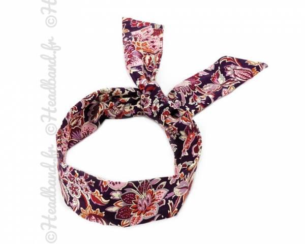 Bandeau motifs imprimés violet