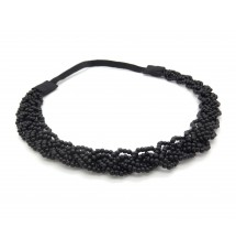 Headband tressé perles noir porté