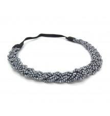 Headband tressé perles gris porté