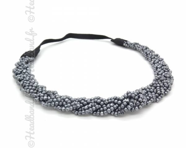 Headband tressé perles gris