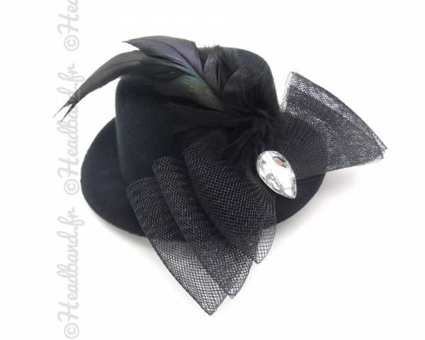 Bibi chapeau noeud tulle noir