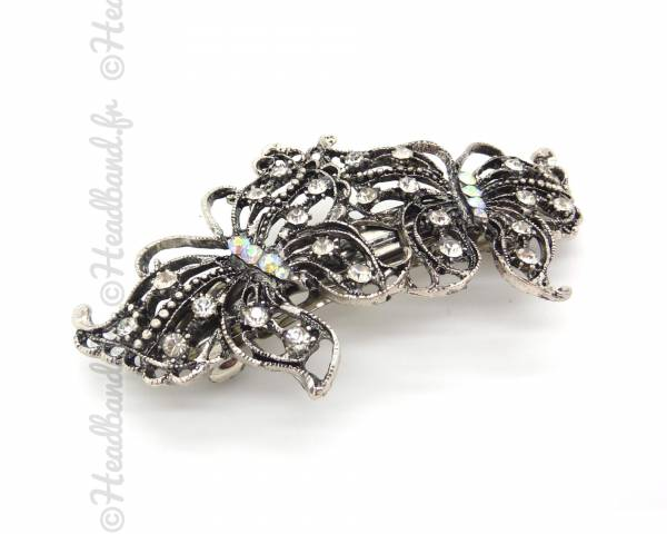 Barrette papillon cristaux