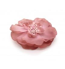 Barrette fleurie rose dos
