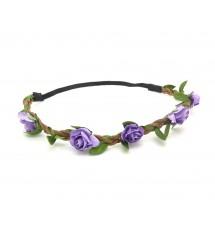 Headband bohème fleur violette porté
