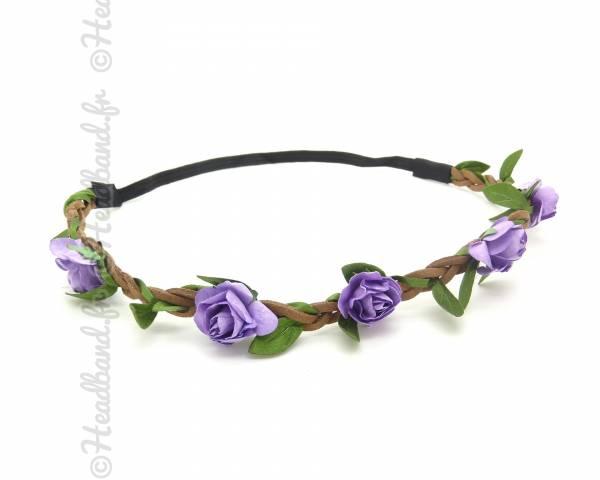 Headband bohème fleur violette
