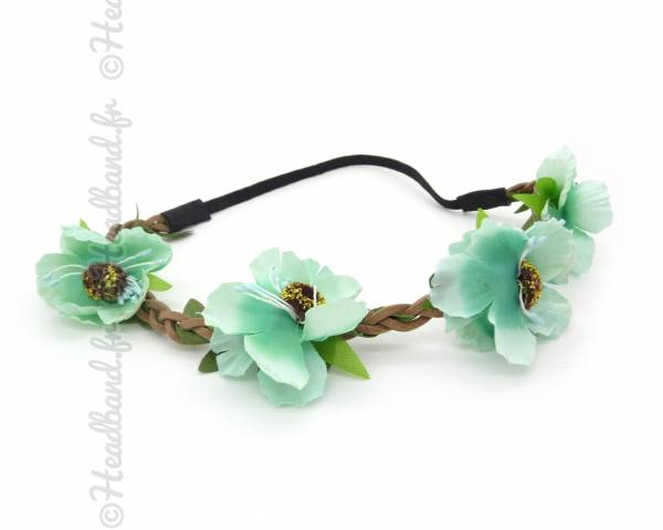 Headband floral menthe