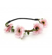 Headband floral rose porté