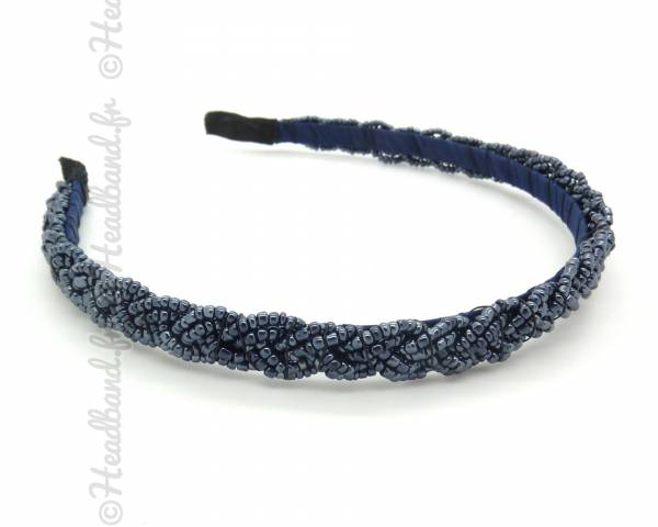 Serre-tête perles tressé bleu foncé